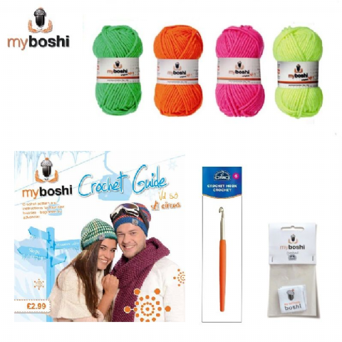Neon - Makes 3 x Myboshi Ski Circus Beanies & Hats - Intermediate to Advanced Crochet Kit
